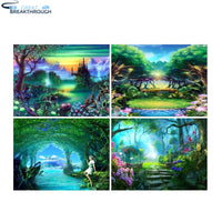 "HOMFUN Full Square/Round Drill 5D DIY Diamond Painting ""Cartoon landscape"" 3D Embroidery Cross Stitch 5D Home Decor"