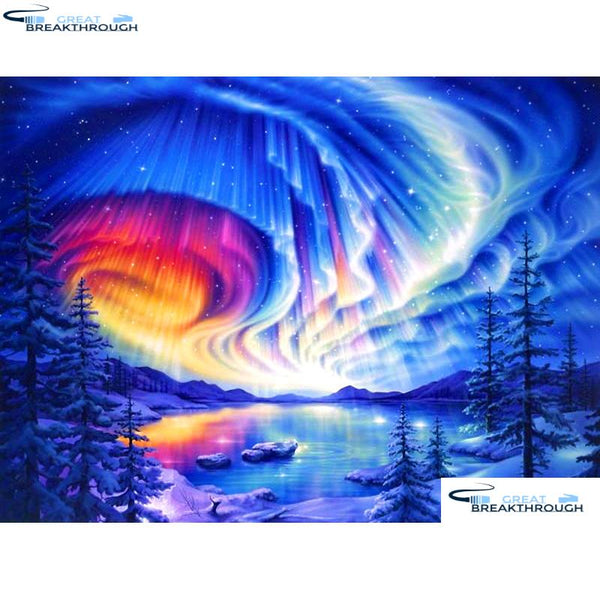 "HOMFUN Full Square/Round Drill 5D DIY Diamond Painting ""Color aurora"" 3D Diamond Embroidery Cross Stitch Home Decor A19591"