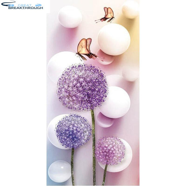 "HOMFUN Full Square/Round Drill 5D DIY Diamond Painting ""purple dandelion"" 3D Embroidery Cross Stitch 5D Decor Gift A00326"