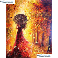 "HOMFUN 5D Diamond Embroidery Needlework Kit ""Forest Girl"" Diy Diamond Painting Cross Stitch Home Decoration Gift A08167"