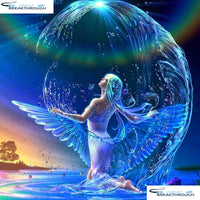 "HOMFUN Full Square/Round Drill 5D DIY Diamond Painting ""Angel girl"" 3D Embroidery Cross Stitch 5D Home Decor A07594"