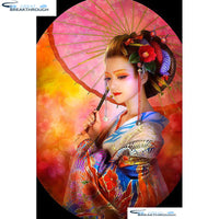 "HOMFUN Full Square/Round Drill 5D DIY Diamond Painting ""Japanese woman"" Embroidery Cross Stitch 5D Home Decor Gift A07079"