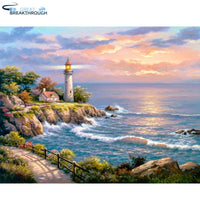 "HOMFUN Full Square/Round Drill 5D DIY Diamond Painting ""Seaside lighthouse"" 3D Embroidery Cross Stitch 5D Home Decor"