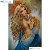 "HOMFUN Full Square/Round Drill 5D DIY Diamond Painting ""Woman oil painting"" Embroidery Cross Stitch 3D Home Decor Gift A01363"