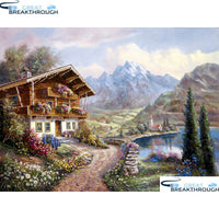 "HOMFUN Full Square/Round Drill 5D DIY Diamond Painting ""House landscape"" Embroidery Cross Stitch 5D Home Decor Gift A30027"
