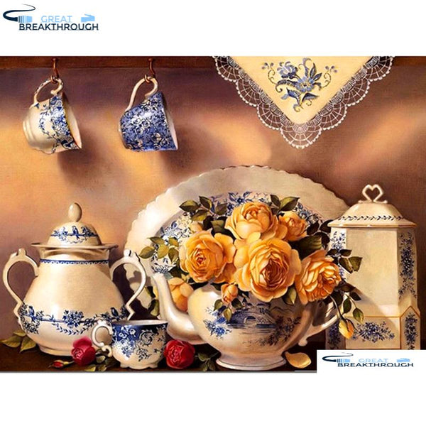 "HOMFUN Full Square/Round Drill 5D DIY Diamond Painting ""kitchen rose flower"" Embroidery Cross Stitch 5D Home Decor A01113"