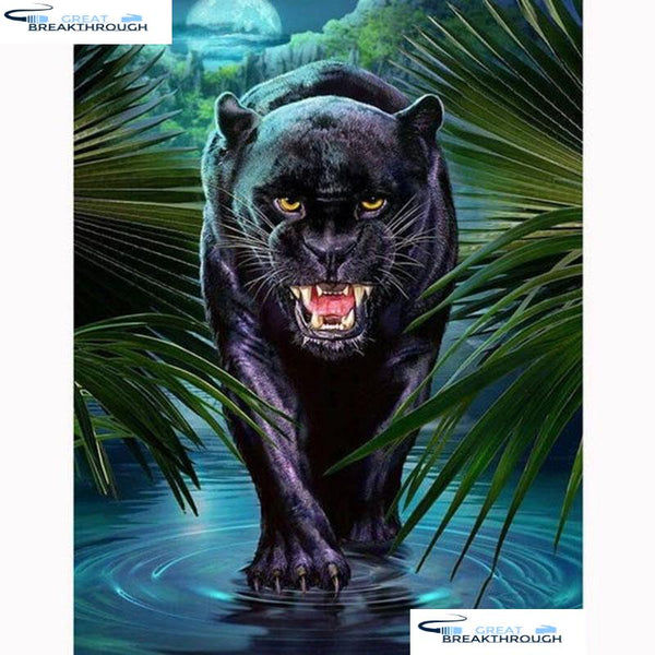 "HOMFUN 5D DIY Diamond Embroidery Full Display ""Animal Black panther"" Diamond Painting Square/Round Rhinestones Decor Art A27198"