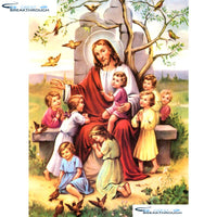 "HOMFUN Full Square/Round Drill 5D DIY Diamond Painting ""Religion Jesus"" Embroidery Cross Stitch 5D Home Decor Gift A07130"