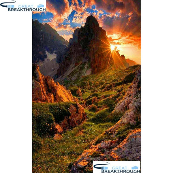 "HOMFUN Full Square/Round Drill 5D DIY Diamond Painting ""Mountain scenery"" 3D Embroidery Cross Stitch 5D Home Decor A15965"