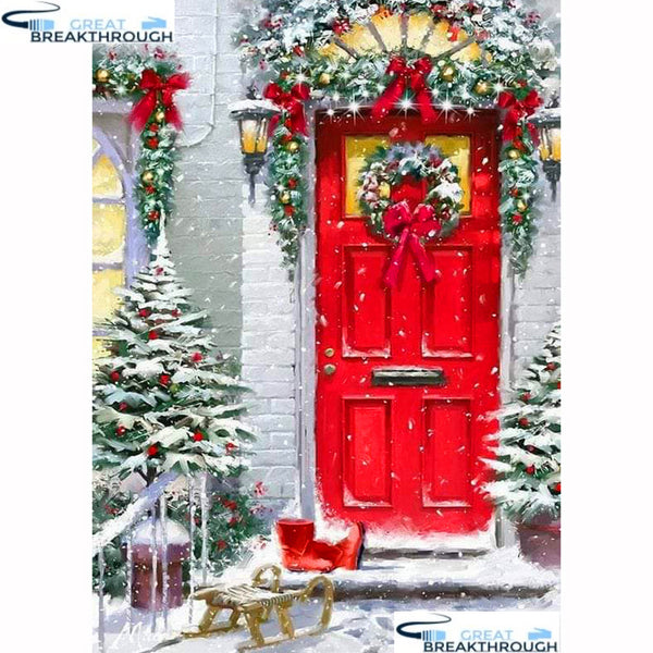 "HOMFUN Full Square/Round Drill 5D DIY Diamond Painting ""Christmas house"" 3D Diamond Embroidery Cross Stitch Home Decor A19572"