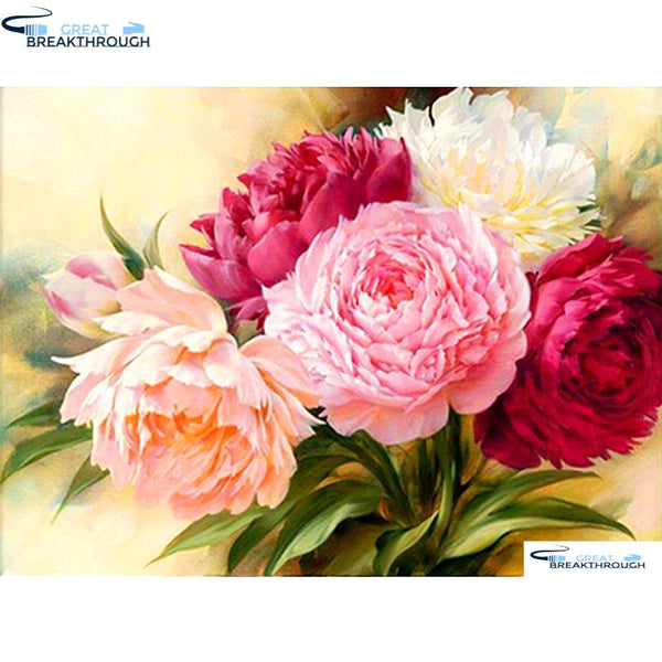"HOMFUN Full Square/Round Drill 5D DIY Diamond Painting ""Peony Flowers"" 3D Embroidery Cross Stitch 5D Decor Gift A00558"