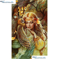 "HOMFUN Full Square/Round Drill 5D DIY Diamond Painting ""Squirrel woman owl"" Embroidery Cross Stitch 3D Home Decor Gift A01361"