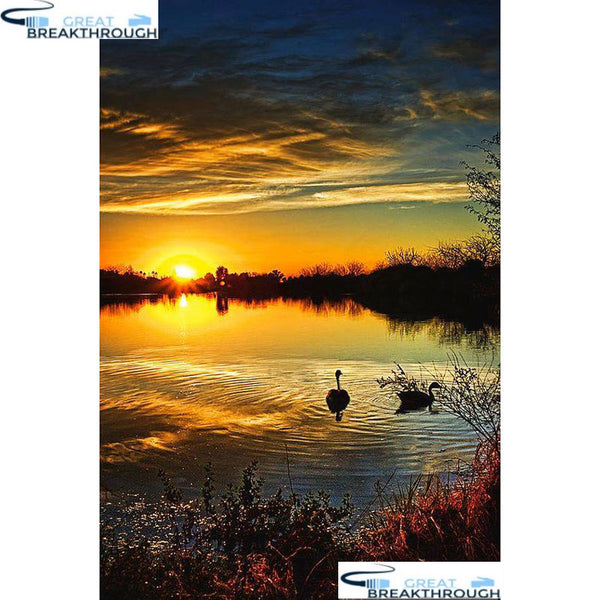 "HOMFUN Full Square/Round Drill 5D DIY Diamond Painting ""Dusk scenery"" 3D Embroidery Cross Stitch 5D Home Decor A15953"
