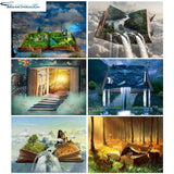 "HOMFUN 5D Diy Diamond Painting Cross Stitch ""Cartoon book landscape"" Home Decor Full Rhinestones Inlay Diamond Embroidery"