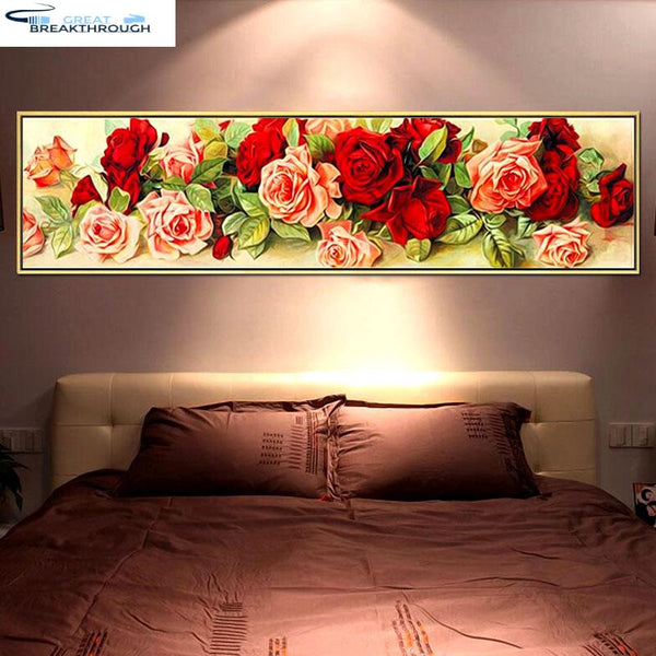 "HOMFUN 100% Full Square/Round Drill 5D DIY Diamond Painting ""Rose flower"" 3D Embroidery Cross Stitch 5D Home Decor Gift BK"
