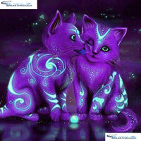"HOMFUN Full Square/Round Drill 5D DIY Diamond Painting ""Cartoon painted cat"" 3D Embroidery Cross Stitch 5D Decor Gift A01193"