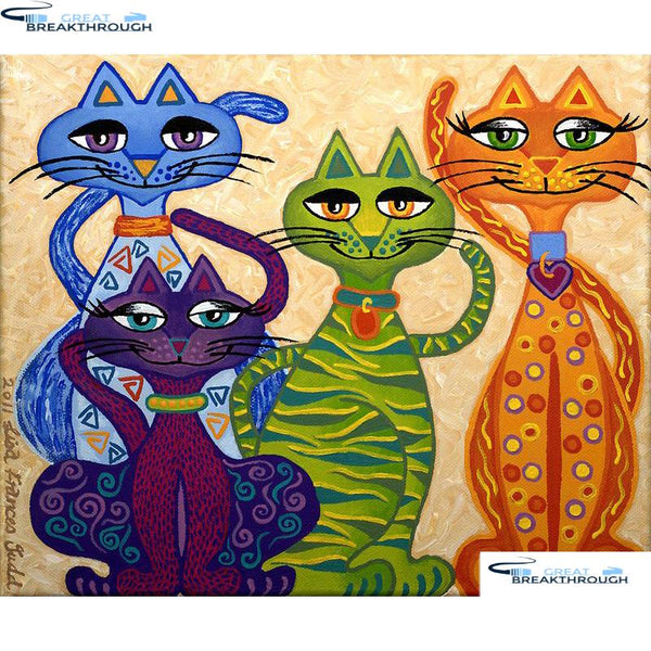 "HOMFUN Full Square/Round Drill 5D DIY Diamond Painting ""Cartoon cat"" Embroidery Cross Stitch 5D Home Decor Gift A07827"