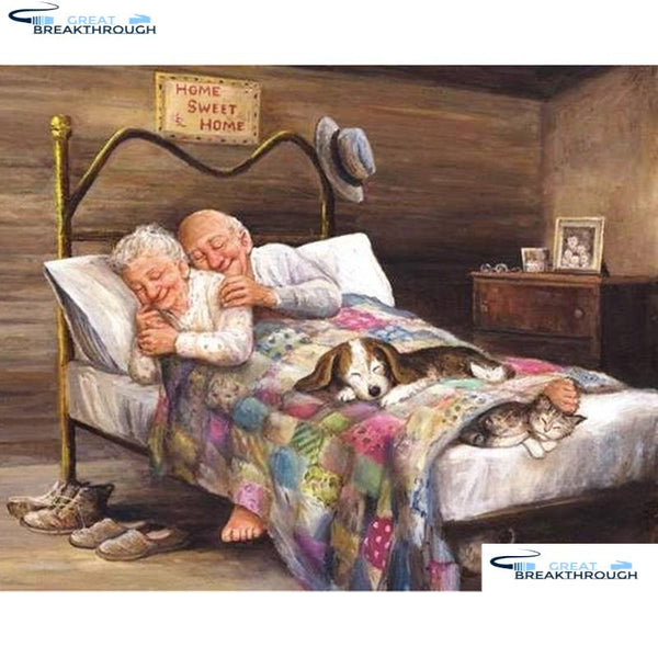 "HOMFUN Full Square/Round Drill 5D DIY Diamond Painting ""Elderly couple dog"" Embroidery Cross Stitch 3D Home Decor Gift A16860"