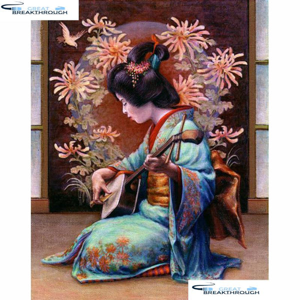 "HOMFUN Full Square/Round Drill 5D DIY Diamond Painting ""Japanese woman"" 3D Diamond Embroidery Cross Stitch Home Decor A20116"
