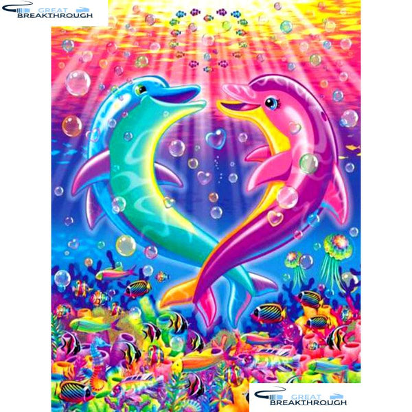 "HOMFUN Full Square/Round Drill 5D DIY Diamond Painting ""Cartoon dolphin"" Embroidery Cross Stitch 5D Home Decor Gift A14721"