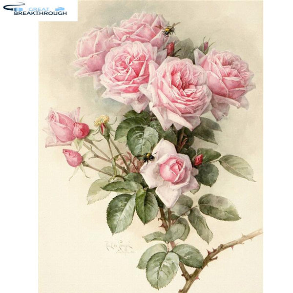 "HOMFUN Full Square/Round Drill 5D DIY Diamond Painting ""Flowers Rose"" 3D Embroidery Cross Stitch 5D Home Decor Gift XY"