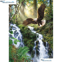 "HOMFUN 5D Diamond ""Waterfall eagle"" Diamond Embroidery Full Round/ Square Diy Diamond Painting Cross Stitch Home Decor A00704"
