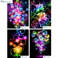 "HOMFUN Full Square/Round Drill 5D DIY Diamond Painting ""Colored flower"" 3D Embroidery Cross Stitch 5D Home Decor Gift"