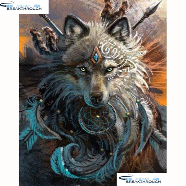 "HOMFUN Full Square/Round Drill 5D DIY Diamond Painting ""Animal wolf"" Embroidery Cross Stitch 5D Home Decor Gift A18203"