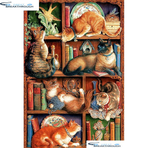 "HOMFUN Full Square/Round Drill 5D DIY Diamond Painting ""Bookshelf & cat"" Embroidery Cross Stitch 5D Home Decor Gift A01674"