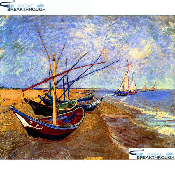 "HOMFUN Full Square/Round Drill 5D DIY Diamond Painting ""Boat scenery"" Embroidery Cross Stitch 5D Home Decor Gift A14402"