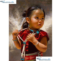 "HOMFUN Full Square/Round Drill 5D DIY Diamond Painting ""little girl"" Embroidery Cross Stitch 5D Home Decor A18029"