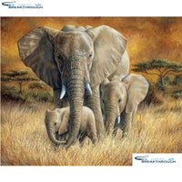 "HOMFUN Art 5D Diy Diamond Painting ""Animal elephant"" Diamond Pictures Cross Stitch 3D Rhinestone Embroidery Decor A27844"