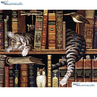 "HOMFUN 5D Diamond ""cat & bookshelf"" Diamond Embroidery Full Round/ Square Diy Diamond Painting Cross Stitch Home Decor A01079"