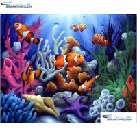 "HOMFUN Full Square/Round Drill 5D DIY Diamond Painting ""Underwater World"" Embroidery Cross Stitch 5D Home Decor Gift A07589"