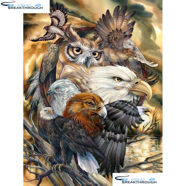 "HOMFUN Full Square/Round Drill 5D DIY Diamond Painting ""Eagle owl"" Embroidery Cross Stitch 5D Home Decor Gift A08831"