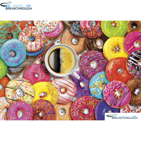 "HOMFUN Full Square/Round Drill 5D DIY Diamond Painting ""Donut & coffee"" Embroidery Cross Stitch 5D Home Decor Gift A01755"