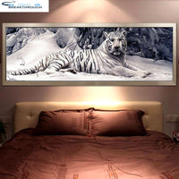 "HOMFUN 100% Full Square/Round Drill 5D DIY Diamond Painting ""White Tiger"" 3D Embroidery Cross Stitch 5D Home Decor Gift BK016"