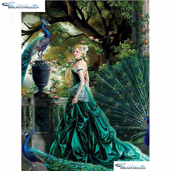 "HOMFUN ""Peacock beauty tree"" Diamond Painting 5D Full Square/Round Drill Home Decor DIY Diamond Embroidery Cross Stitch A00575"