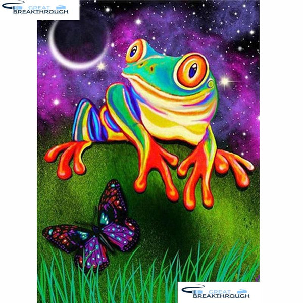 "HOMFUN 5d Diamond Painting Full Square/Round ""Frog butterfly"" Picture Of Rhinestone DIY Diamond Embroidery Home Decor A20114"