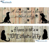 "HOMFUN Full Square/Round Drill 5D DIY Diamond Painting ""Cat Dog Home"" 3D Embroidery Cross Stitch 5D Home Decor Gift A14801"
