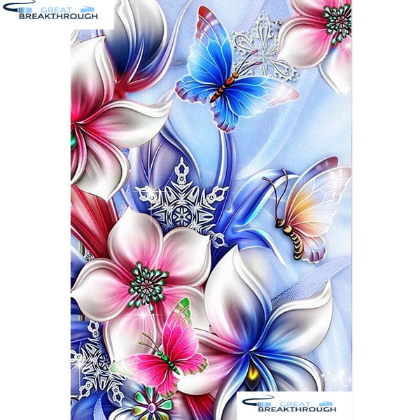 "HOMFUN Full Square/Round Drill 5D DIY Diamond Painting ""Butterfly flower"" Embroidery Cross Stitch 5D Home Decor Gift A07663"