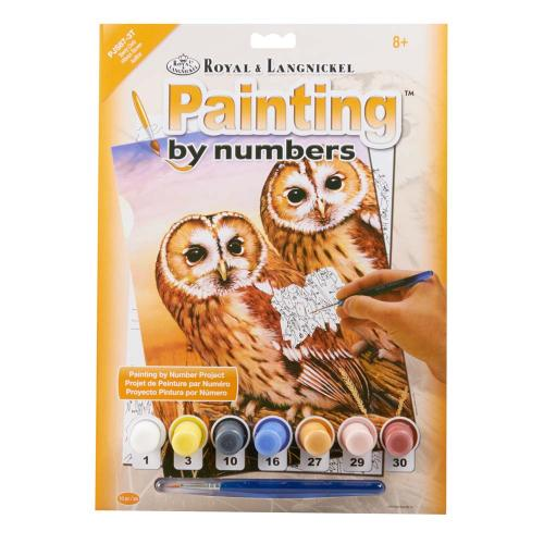JUNIOR PAINT BY NUMBERS PJS87-3T TAWNY OWLS