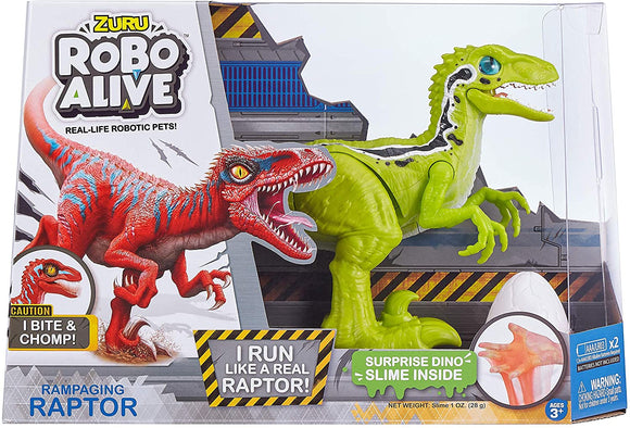 ZURU ROBO ALIVE 25289 ROBOTIC RAMPAGING RAPTOR DINOSAUR (red or green)