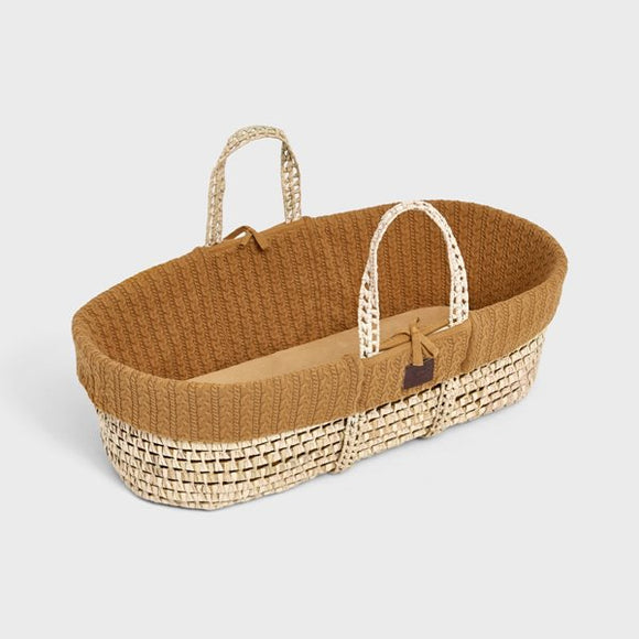 Little Green Sheep knitted Moses basket & mattress - honey