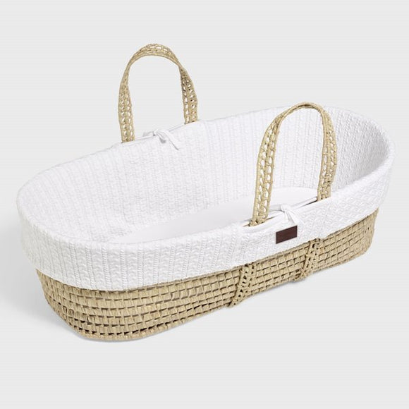 Little Green Sheep knitted Moses basket & mattress - white