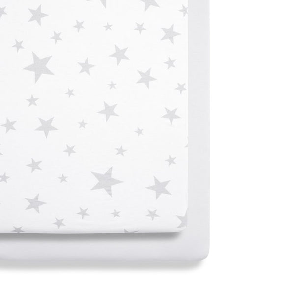 Snuz crib twin pack fitted sheets Grey Star
