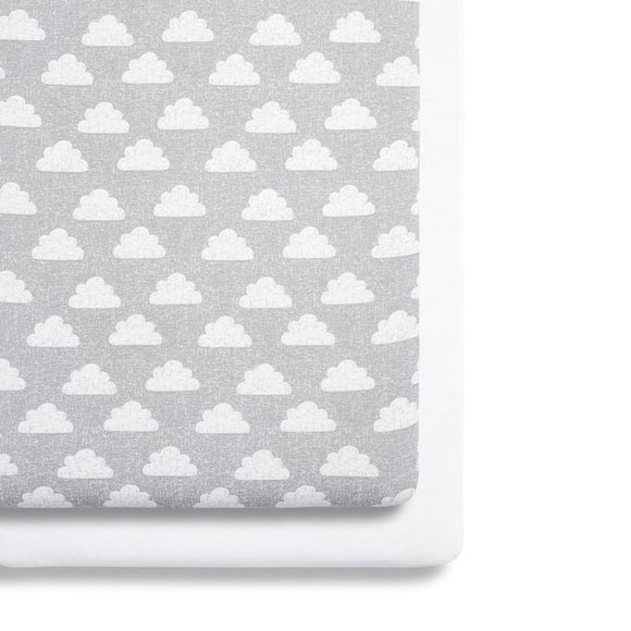 Snuz crib twin pack fitted sheets Cloud