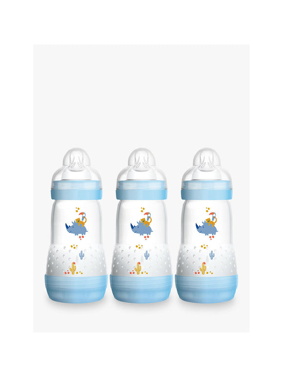 MAM Easy Start Anti Colic Bottle 2m+ 3 Pack- Blue