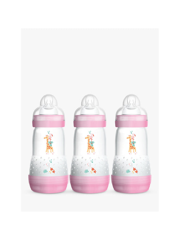 MAM Easy Start Anti Colic Bottle 2m+ 3 Pack- Pink