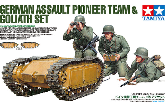 TAMIYA 35357 GERMAN ASSAULT PIONEER TEAM AND GOLIATH SET  1/35 SCALE